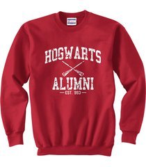 ha1 hogwarts alumni white ink unisex crewneck sweatshirt red