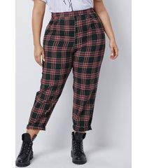pantalones a cuadros rojos talla grande