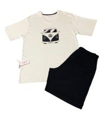 conjunto pijama curto bamboo world kombi verde claro e preto