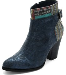 botin sintetico azul por textil heels.d