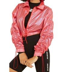 chaqueta anya ruched jacket rosado guess