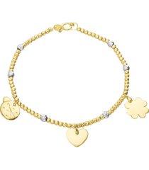 bracciale in oro giallo con cuore, coccinella e quadrifoglio e boules bicolore per donna