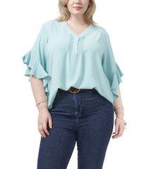 plus size flutter sleeve v-neck henley blouse