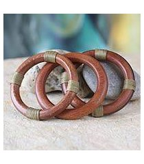 wood bangle bracelets, 'fulani muse in khaki' (set of 3) (ghana)