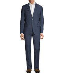 slim-fit textured wool blend suit