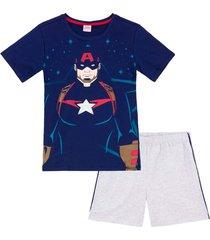 pijama curto pai e filho evanilda marvel avengers marinho/mescla brilha no escuro