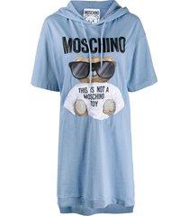 moschino teddy print hoodie dress - blue