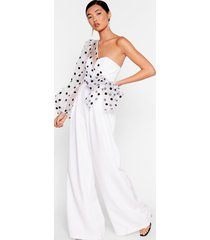 womens catch a chill organza polka dot jumpsuit - white