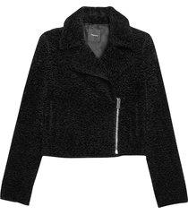 theory women's slim moto jacket - black - size 12