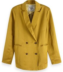 maison scotch double breasted blazer geel