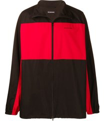 balenciaga oversized fleece zip-up jacket - black