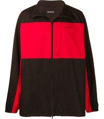 balenciaga oversized fleece zip-up jacket - black