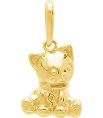 ciondolo gatto in oro giallo per donna