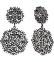 marchesa hematite-tone crystal & imitation pearl cluster drop earrings
