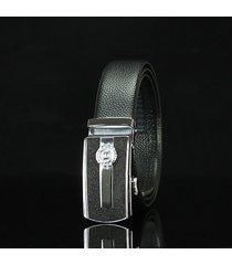 cinturón de hombres, cinturón de hebilla automática-negro