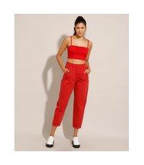 calça baggy de sarja com pregas cintura super alta sawary vermelha