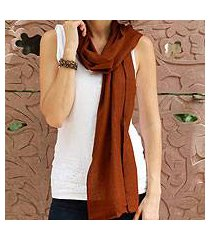 wool scarf, 'smart in chocolate brown' (india)
