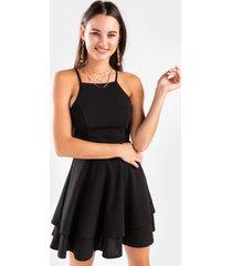 arica laser cut tiered mini dress - black