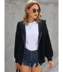 abrigo de manga larga con cremallera de pana negra yoins diseño