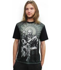 camiseta alkary caveira dólar preta