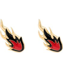 ambush gold-plated flame stud earrings