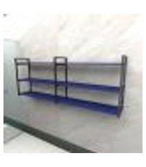 prateleira industrial banheiro aço cor preto 180x30x68cm (c)x(l)x(a) cor mdf azul modelo ind32azb