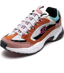 tenis lifestyle blanco-multicolor skechers sugar rocks