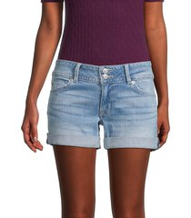 hudson women's ruby faded folded cuff denim shorts - camellia - size 24 (0)