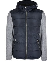 river island mens navy quilted body knit sleeve coat
