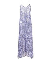 zadig & voltaire star print sheer silk beach dress - blue