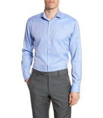 men's nordstrom trim fit herringbone dress shirt, size 17.5 - 34/35 - blue
