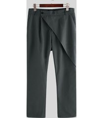 incerun pantalones casuales de diseño escalonado de moda para hombre