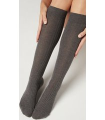 calzedonia women's ribbed long socks with cashmere woman grey size 36-38