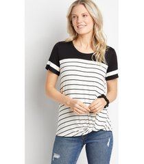maurices womens 24/7 striped knot front baseball tee white