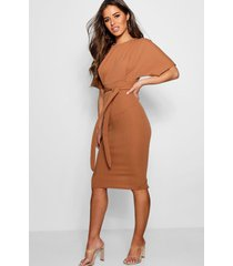petite tie waist formal wiggle midi dress, camel