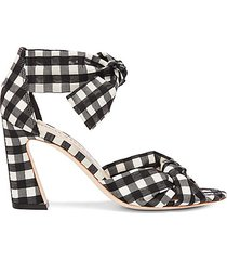 nan gingham ankle-tie sandals