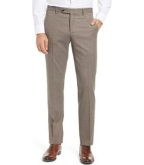 men's zanella parker flat front textured wool trousers, size 36 - beige