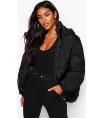 gewatteerde jas met capuchon en stiksels, zwart