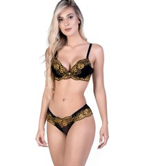 conjunto yasmin lingerie chic 15 preto/dourado - dourado - feminino - dafiti