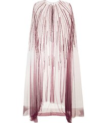 marchesa notte beaded cape empire line gown - red