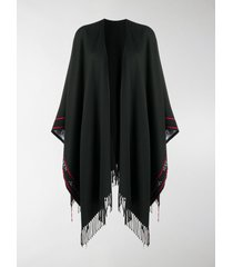 alexander mcqueen selvedge fringed wool cape