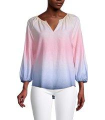 saks fifth avenue women's ombre dip-dye splitneck tunic top - pink blue dip dye - size xs