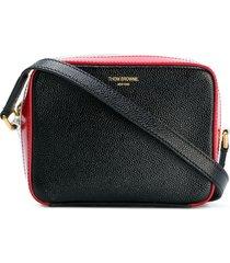 thom browne rwb stripe mini-business crossbody bag - black