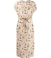 anntian all-over print silk dress - neutrals