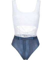 amir slama lace and denim swimsuit - white