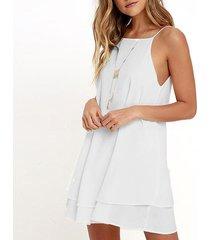 mujeres con tiras ocasionales flojas corta sólida mini vestido de la playa del vestido del verano plus