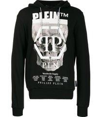 philipp plein rhinestone skull hoodie - black