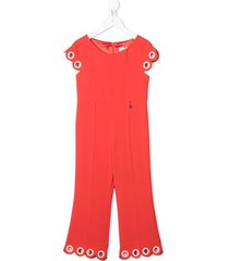 elisabetta franchi la mia bambina scaloped jumpsuit - orange