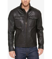 cole haan men's leather trucker jacket
