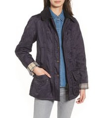 barbour beadnell fleece lined quilted jacket, size 4 us in navy/navy at nordstrom